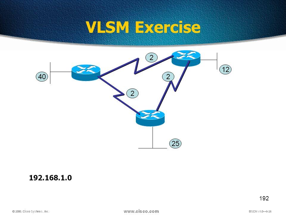 192 VLSM Exercise 2 2 2 40 25 12 192.168.1.0