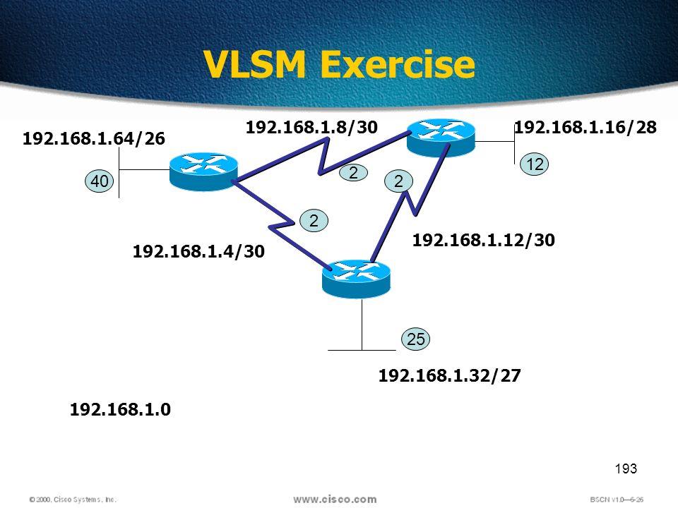 193 VLSM Exercise 2 2 2 40 25 12 192.168.1.0 192.168.1.4/30 192.168.1.8/30 192.168.1.12/30 192.168.1.16/28 192.168.1.32/27 192.168.1.64/26