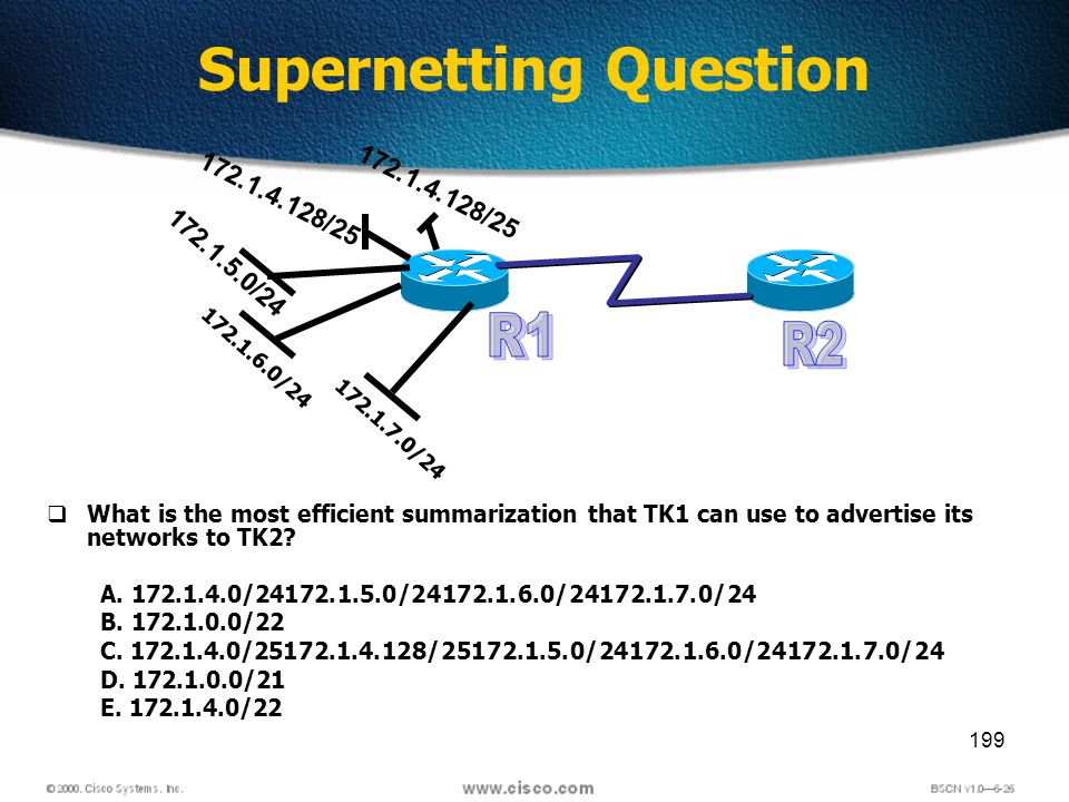 199 Supernetting Question 172.1.7.0/24 172.1.6.0/24 172.1.5.0/24 172.1.4.128/25 What is the most efficient summarization that TK1 can use to advertise its networks to TK2.
