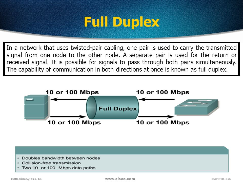39 Full Duplex In a network that uses twisted-pair cabling, one pair is used to carry the transmitted signal from one node to the other node.
