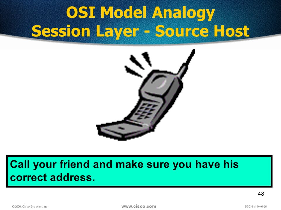 48 OSI Model Analogy Session Layer - Source Host Call your friend and make sure you have his correct address.