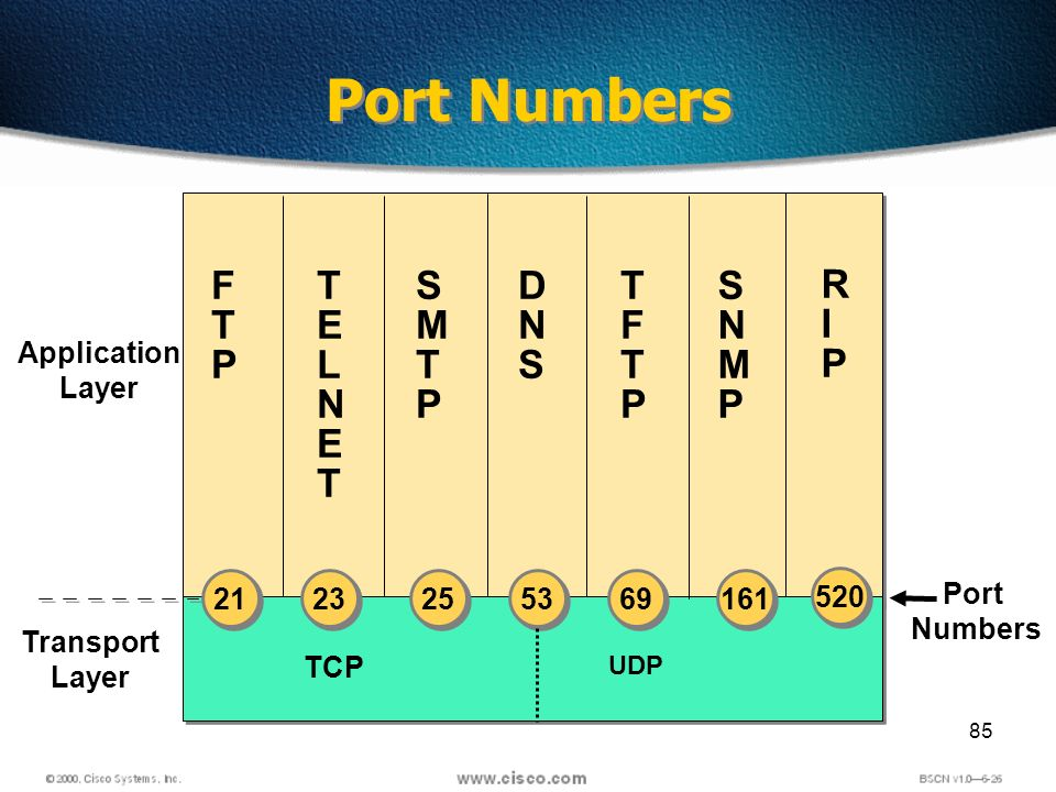 85 Port Numbers TCP Port Numbers FTPFTP Transport Layer TELNETTELNET DNSDNS SNMPSNMP TFTPTFTP SMTPSMTP UDP Application Layer 21 23 25 53 69 161 RIPRIP 520