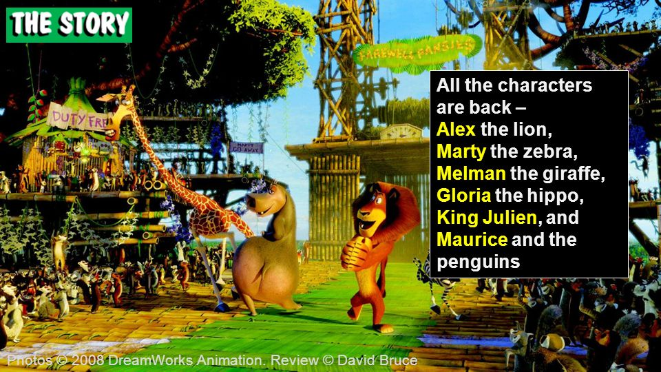 All the characters are back – Alex the lion, Marty the zebra, Melman the giraffe, Gloria the hippo, King Julien, and Maurice and the penguins Photos © 2008 DreamWorks Animation.