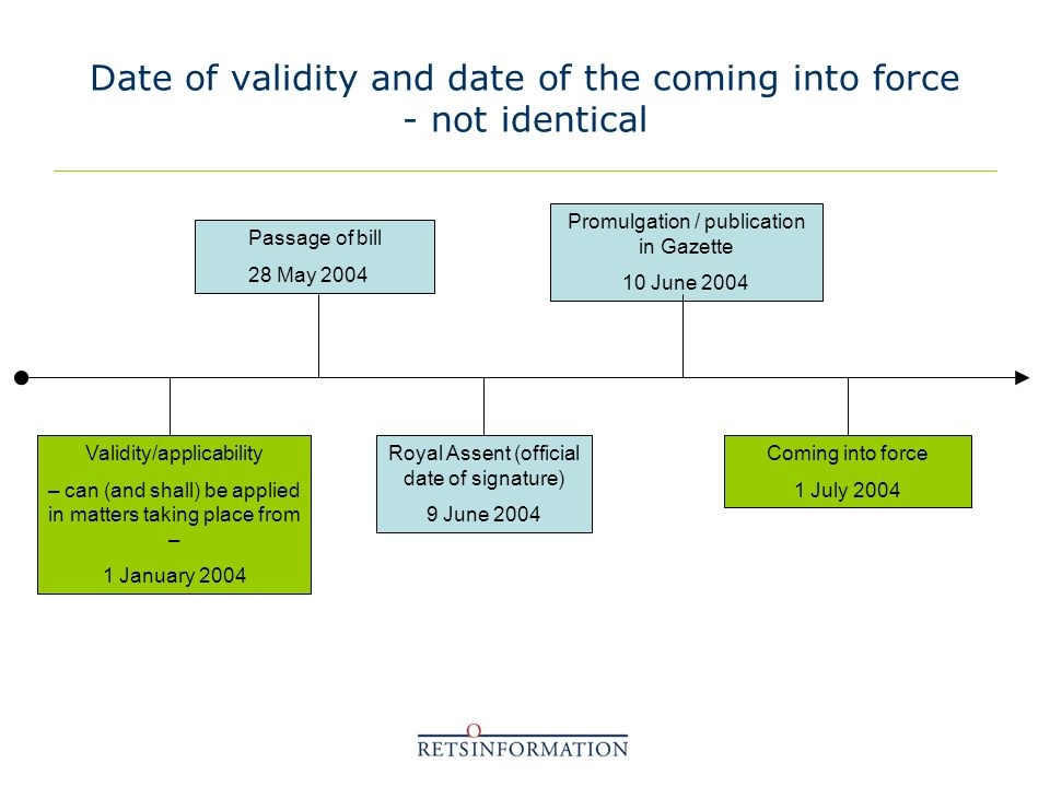 Date of validity and date of the coming into force - not identical Passage of bill 28 May 2004 Royal Assent (official date of signature) 9 June 2004 Promulgation / publication in Gazette 10 June 2004 Coming into force 1 July 2004 Validity/applicability – can (and shall) be applied in matters taking place from – 1 January 2004