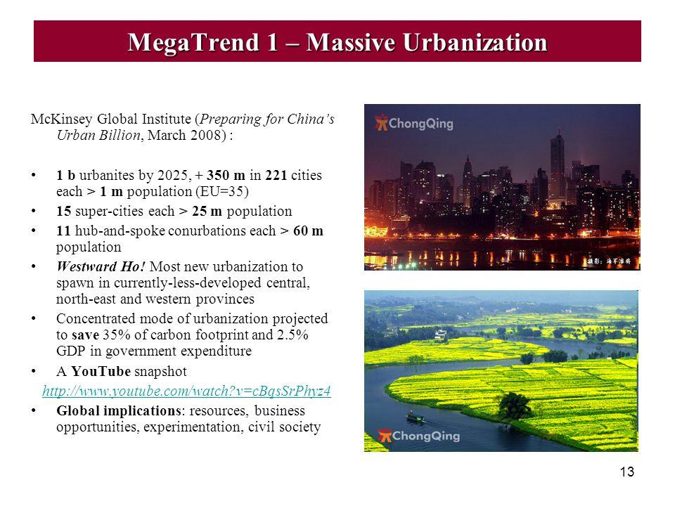 13 MegaTrend 1 – Massive Urbanization McKinsey Global Institute (Preparing for Chinas Urban Billion, March 2008) : 1 b urbanites by 2025, + 350 m in 2