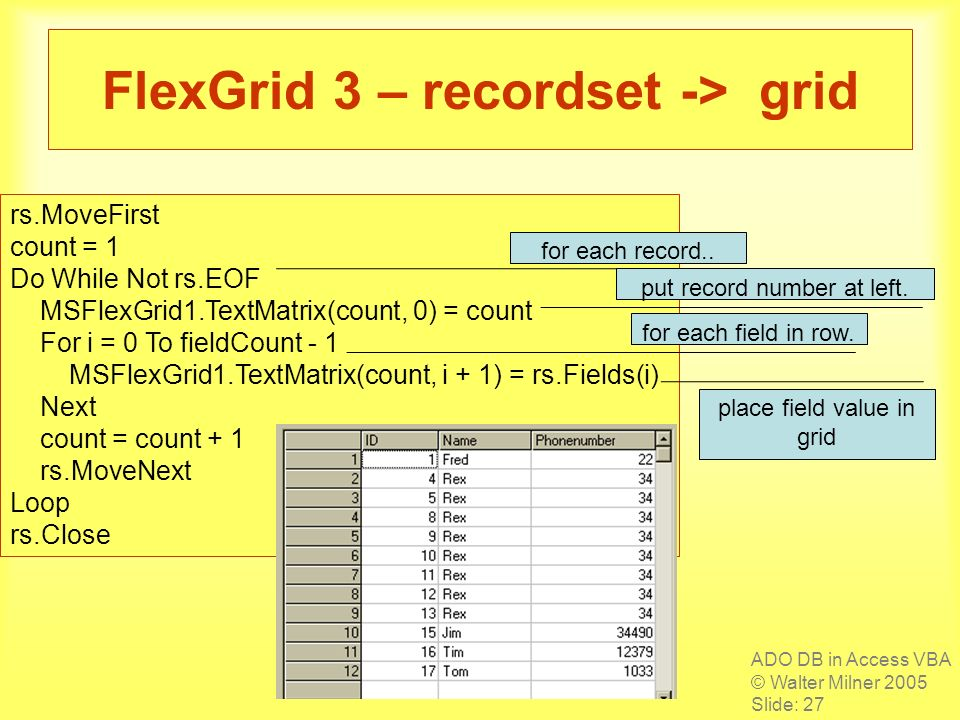 ADO DB in Access VBA © Walter Milner 2005 Slide: 27 FlexGrid 3 – recordset -> grid rs.MoveFirst count = 1 Do While Not rs.EOF MSFlexGrid1.TextMatrix(c