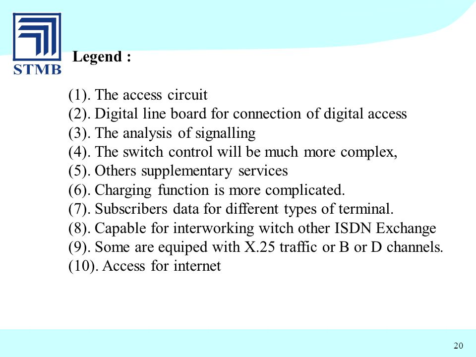 20 Legend : (1). The access circuit (2). Digital line board for connection of digital access (3). The analysis of signalling (4). The switch control w