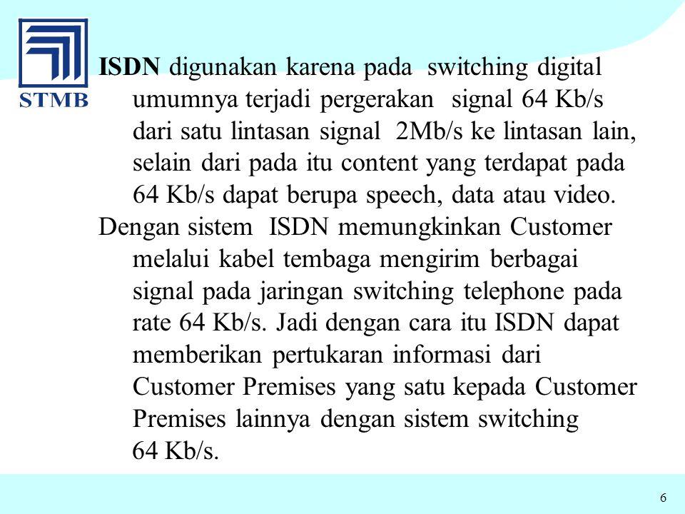 6 ISDN digunakan karena pada switching digital umumnya terjadi pergerakan signal 64 Kb/s dari satu lintasan signal 2Mb/s ke lintasan lain, selain dari