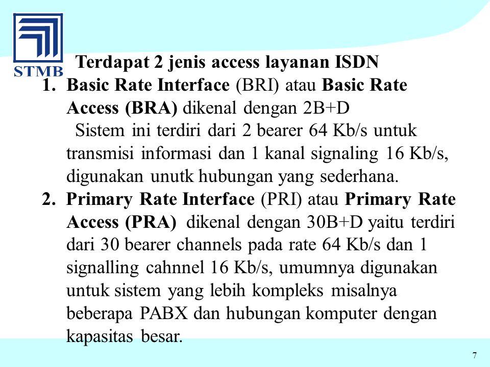 7 Terdapat 2 jenis access layanan ISDN 1.Basic Rate Interface (BRI) atau Basic Rate Access (BRA) dikenal dengan 2B+D Sistem ini terdiri dari 2 bearer