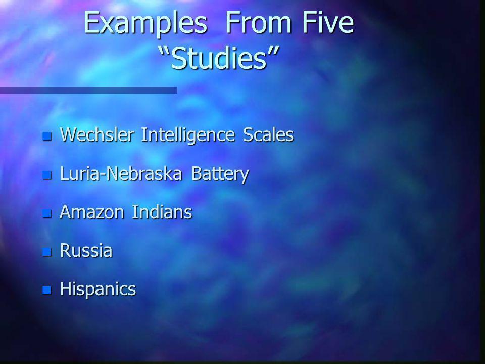 Examples From Five Studies n Wechsler Intelligence Scales n Luria-Nebraska Battery n Amazon Indians n Russia n Hispanics