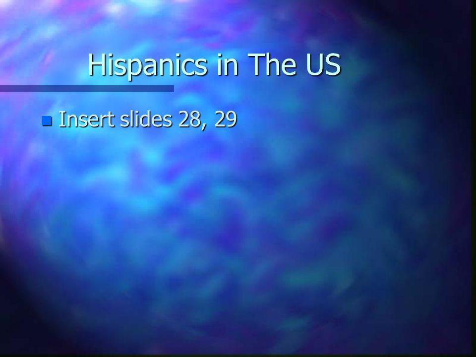Hispanics in The US n Insert slides 28, 29
