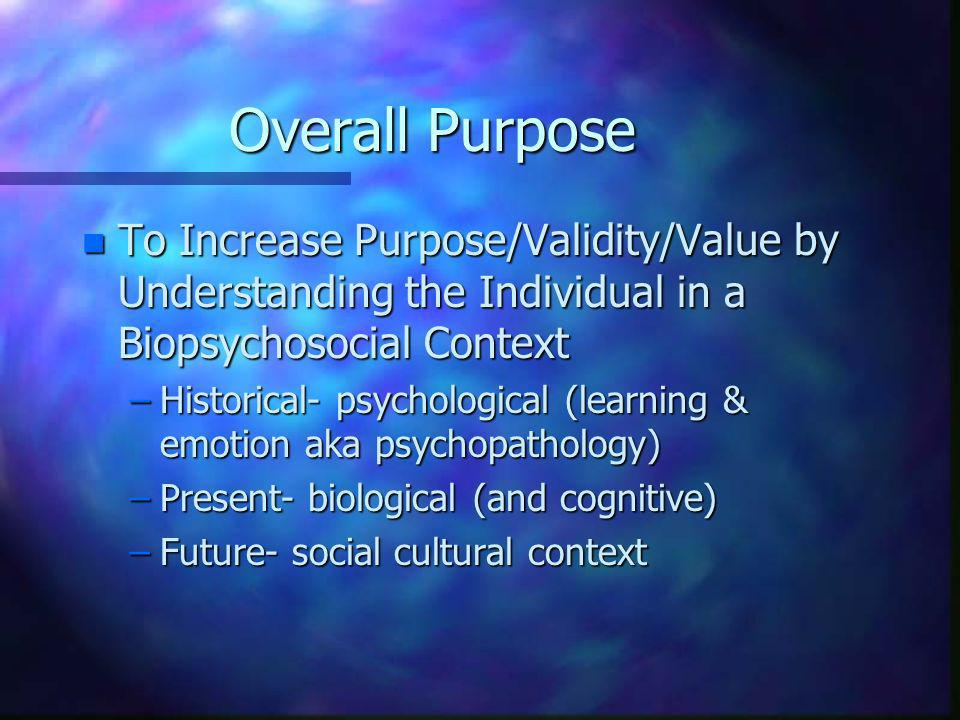 Overall Purpose n To Increase Purpose/Validity/Value by Understanding the Individual in a Biopsychosocial Context –Historical- psychological (learning