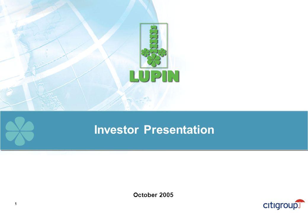 Investor Presentation October 2005 1