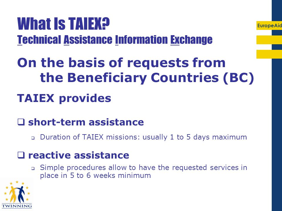 EuropeAid Types of TAIEX requests from NC&R: 2006-07 (31.10.2007)