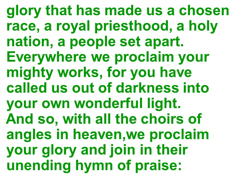 glory that has made us a chosen race, a royal priesthood, a holy nation, a people set apart. Everywhere we proclaim your mighty works, for you have ca