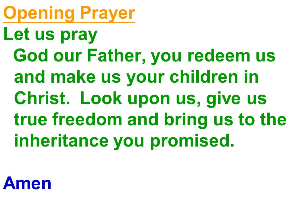 Opening Prayer Let us pray God our Father, you redeem us and make us your children in Christ. Look upon us, give us true freedom and bring us to the i