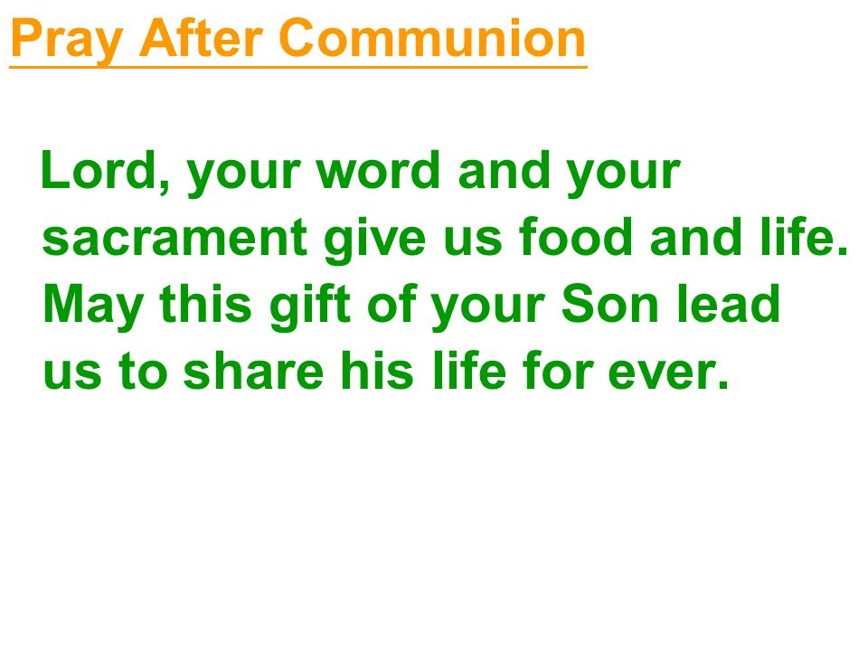 Pray After Communion Lord, your word and your sacrament give us food and life. May this gift of your Son lead us to share his life for ever.