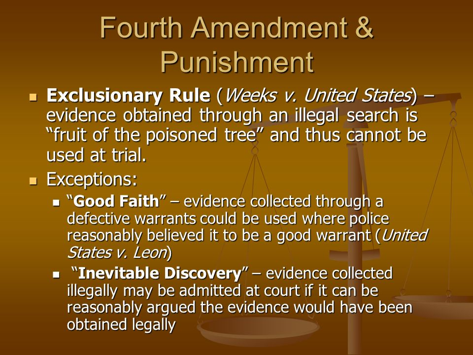 Fourth Amendment & Punishment Exclusionary Rule (Weeks v. United States) – evidence obtained through an illegal search is fruit of the poisoned tree a