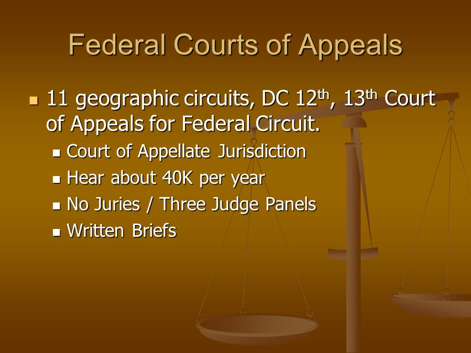 Federal Courts of Appeals 11 geographic circuits, DC 12 th, 13 th Court of Appeals for Federal Circuit. 11 geographic circuits, DC 12 th, 13 th Court