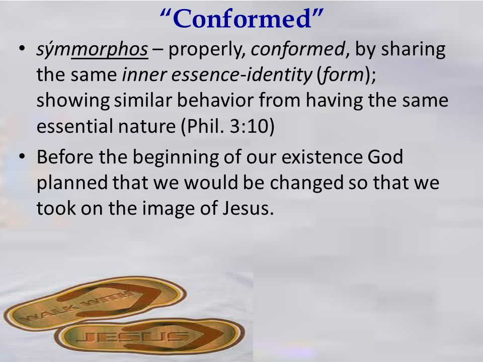 Conformed sýmmorphos – properly, conformed, by sharing the same inner essence-identity (form); showing similar behavior from having the same essential nature (Phil.