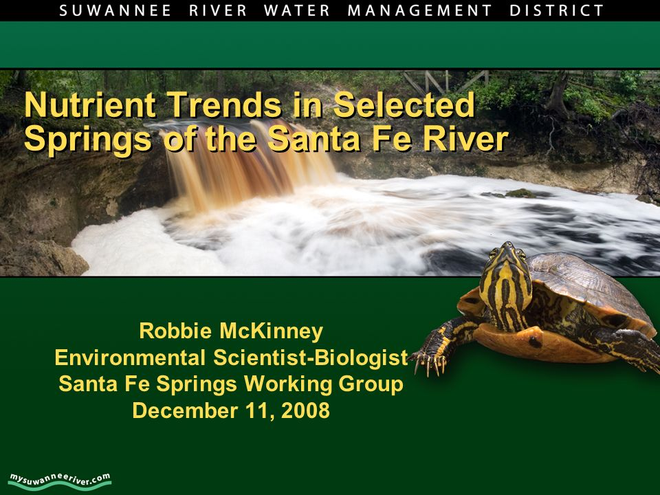 Nutrient Trends in Selected Springs of the Santa Fe River Robbie McKinney Environmental Scientist-Biologist Santa Fe Springs Working Group December 11, 2008
