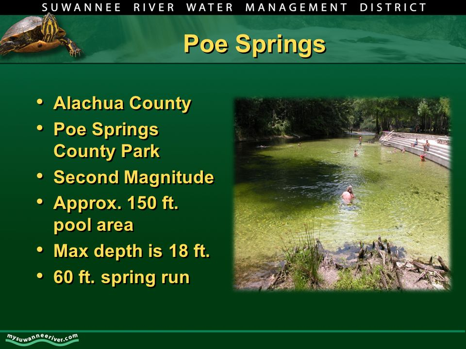 Poe Springs Alachua County Poe Springs County Park Second Magnitude Approx.