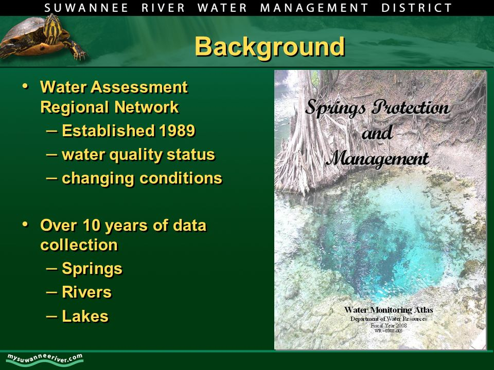 SRWMD Spring Sampling Sites Poe Springs – June 1997 * Ginnie Springs – November 1997 Blue Springs (High Springs) – December 1992 * Columbia Springs – May 1998 Treehouse Springs – May 1998 Hornsby Springs – November 1992 * Santa Fe Springs – June 1998 * monitored monthly; included in presentation Poe Springs – June 1997 * Ginnie Springs – November 1997 Blue Springs (High Springs) – December 1992 * Columbia Springs – May 1998 Treehouse Springs – May 1998 Hornsby Springs – November 1992 * Santa Fe Springs – June 1998 * monitored monthly; included in presentation