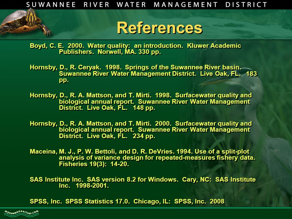 References Boyd, C. E Water quality: an introduction.