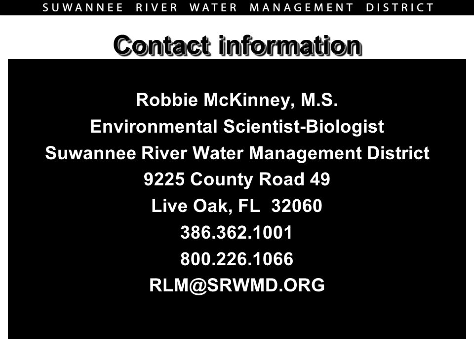 Contact information Robbie McKinney, M.S.