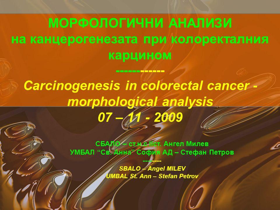 МОРФОЛОГИЧНИ АНАЛИЗИ на канцерогенезата при колоректалния карцином ------------ Carcinogenesis in colorectal cancer - morphological analysis 07 – 11 - 2009 СБАЛО – ст.н.с ІІст.