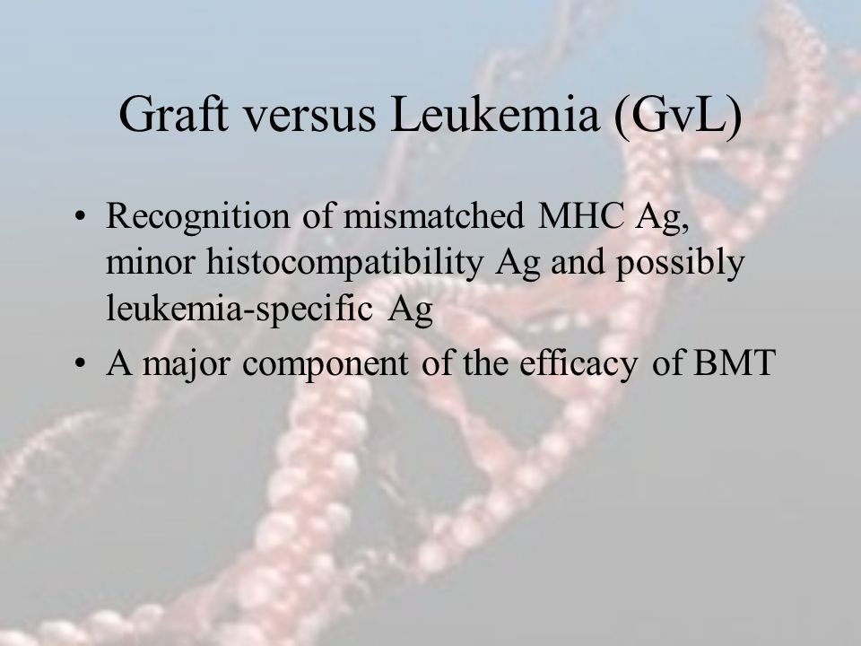 Graft versus Leukemia (GvL) Recognition of mismatched MHC Ag, minor histocompatibility Ag and possibly leukemia-specific Ag A major component of the e