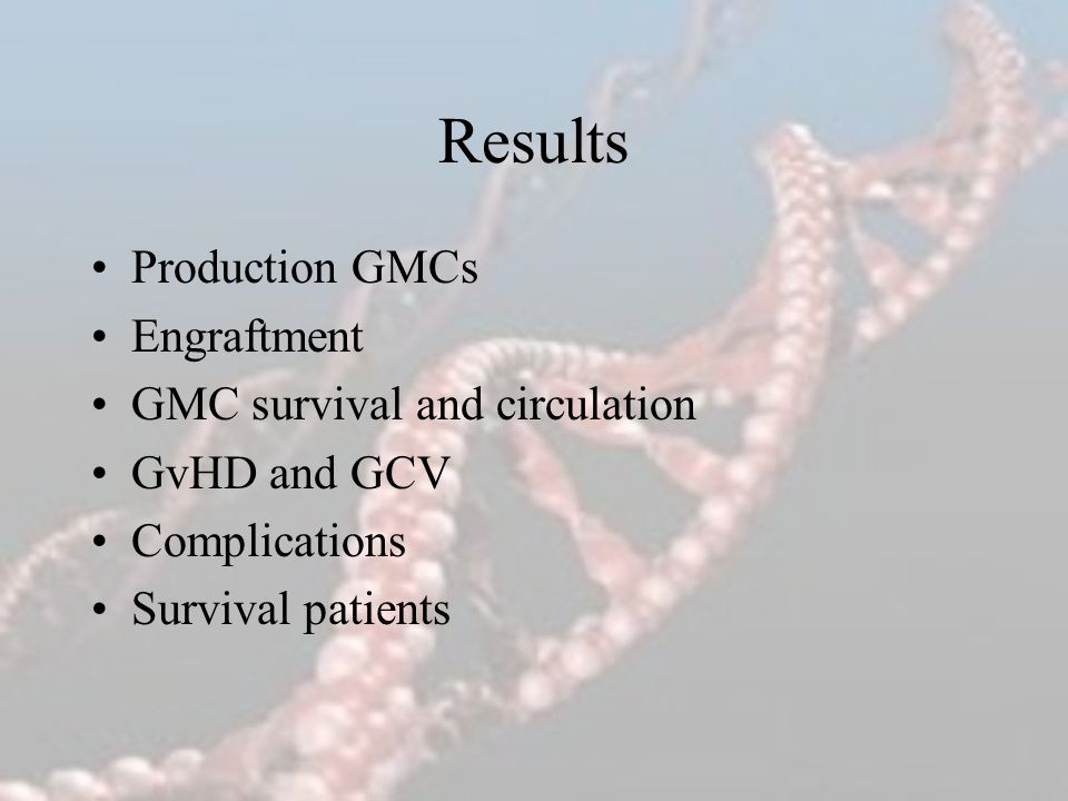 Results Production GMCs Engraftment GMC survival and circulation GvHD and GCV Complications Survival patients