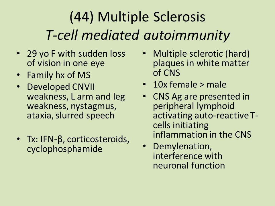 (44) Multiple Sclerosis T-cell mediated autoimmunity 29 yo F with sudden loss of vision in one eye Family hx of MS Developed CNVII weakness, L arm and leg weakness, nystagmus, ataxia, slurred speech Tx: IFN-β, corticosteroids, cyclophosphamide Multiple sclerotic (hard) plaques in white matter of CNS 10x female > male CNS Ag are presented in peripheral lymphoid activating auto-reactive T- cells initiating inflammation in the CNS Demylenation, interference with neuronal function
