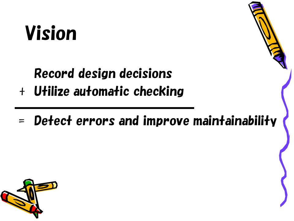 Vision Record design decisions +Utilize automatic checking =Detect errors and improve maintainability