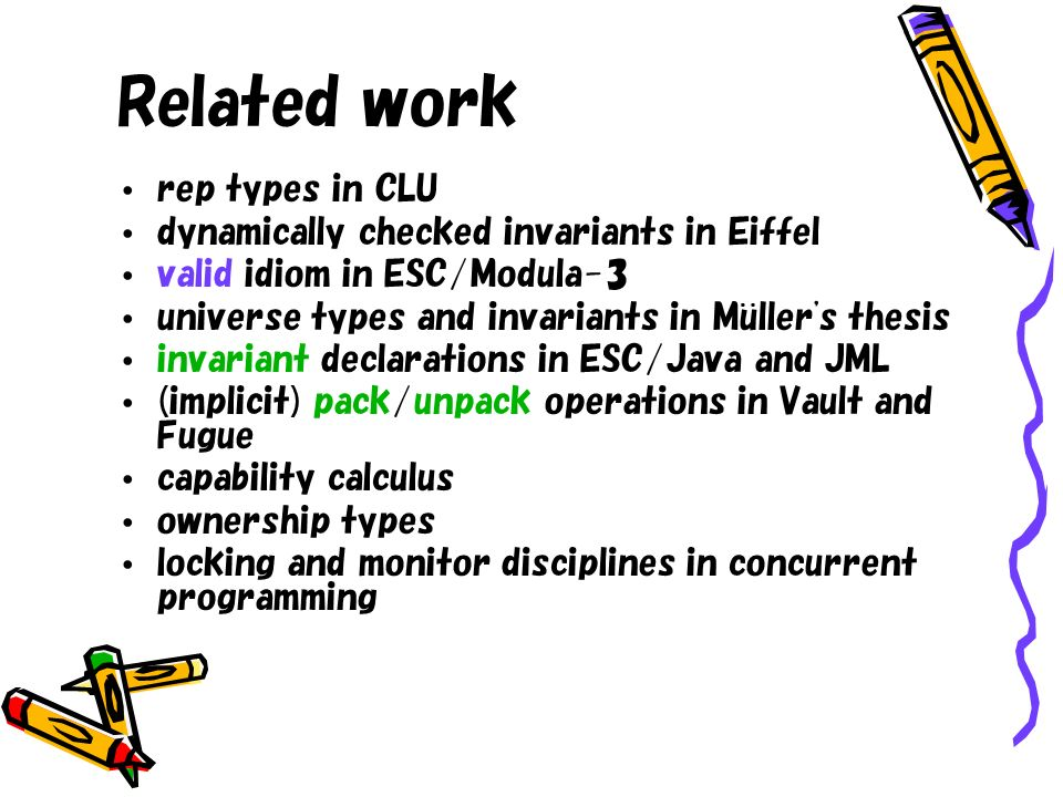 Related work rep types in CLU dynamically checked invariants in Eiffel valid idiom in ESC/Modula-3 universe types and invariants in Muller's thesis in