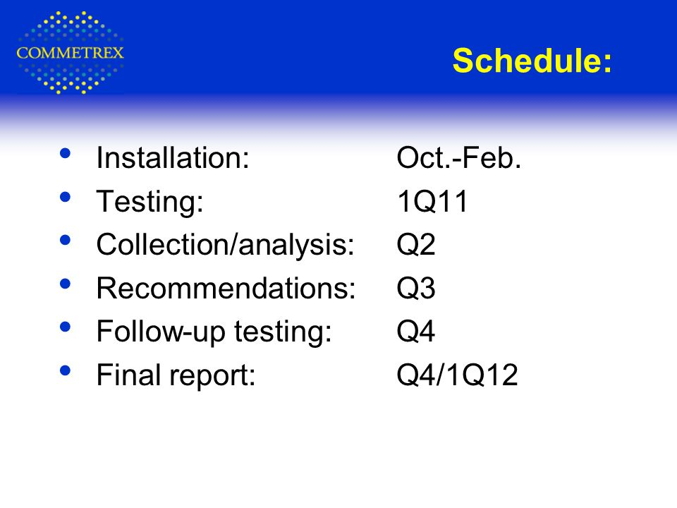 Schedule: Installation: Oct.-Feb.