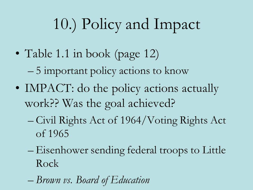 10.) Policy and Impact Table 1.1 in book (page 12) –5 important policy actions to know IMPACT: do the policy actions actually work?? Was the goal achi