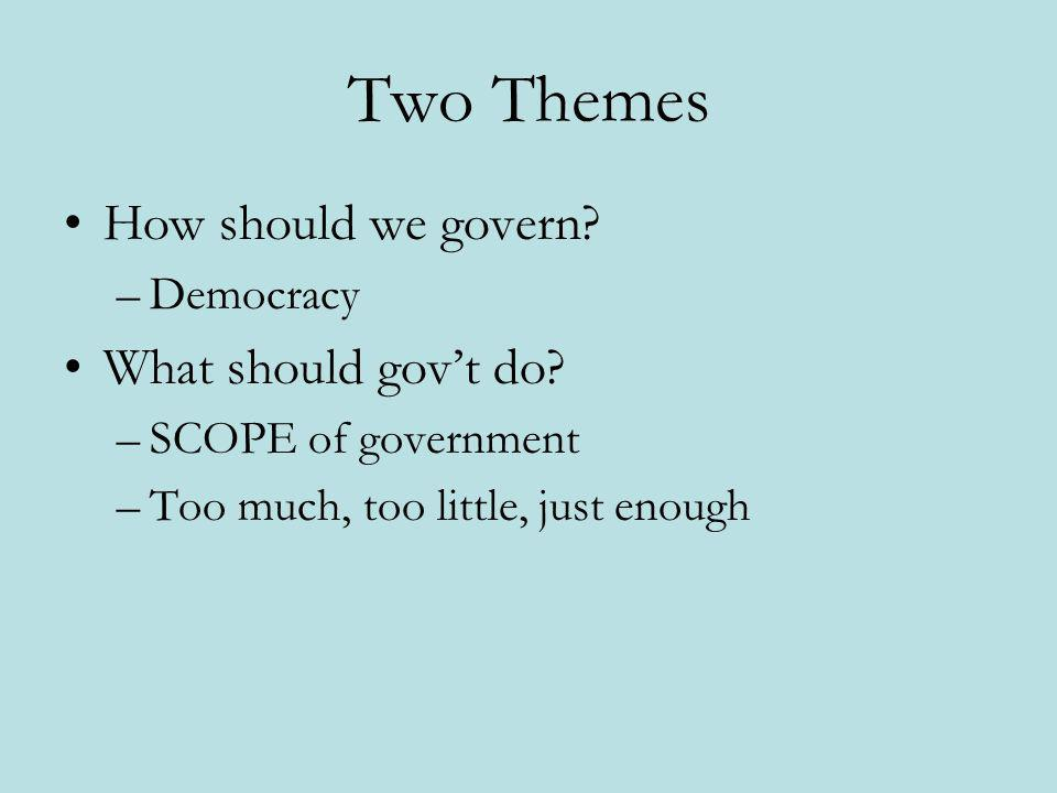 Two Themes How should we govern? –Democracy What should govt do? –SCOPE of government –Too much, too little, just enough