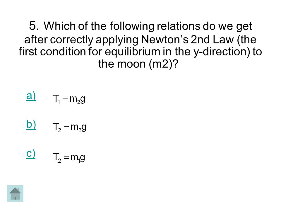 5. Which of the following relations do we get after correctly applying Newtons 2nd Law (the first condition for equilibrium in the y-direction) to the