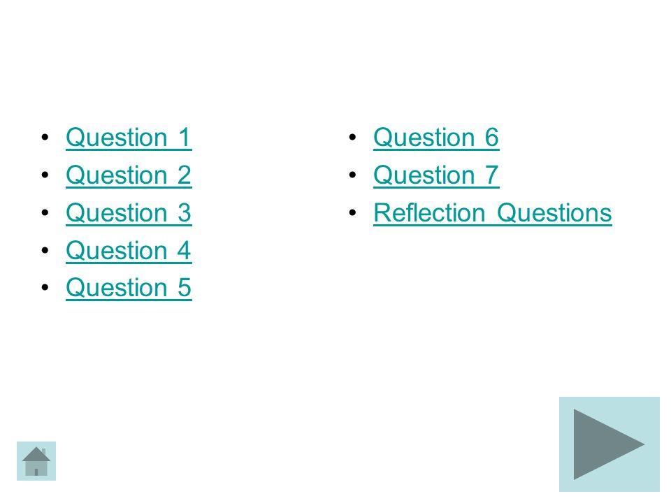 Question 1 Question 2 Question 3 Question 4 Question 5 Question 6 Question 7 Reflection Questions