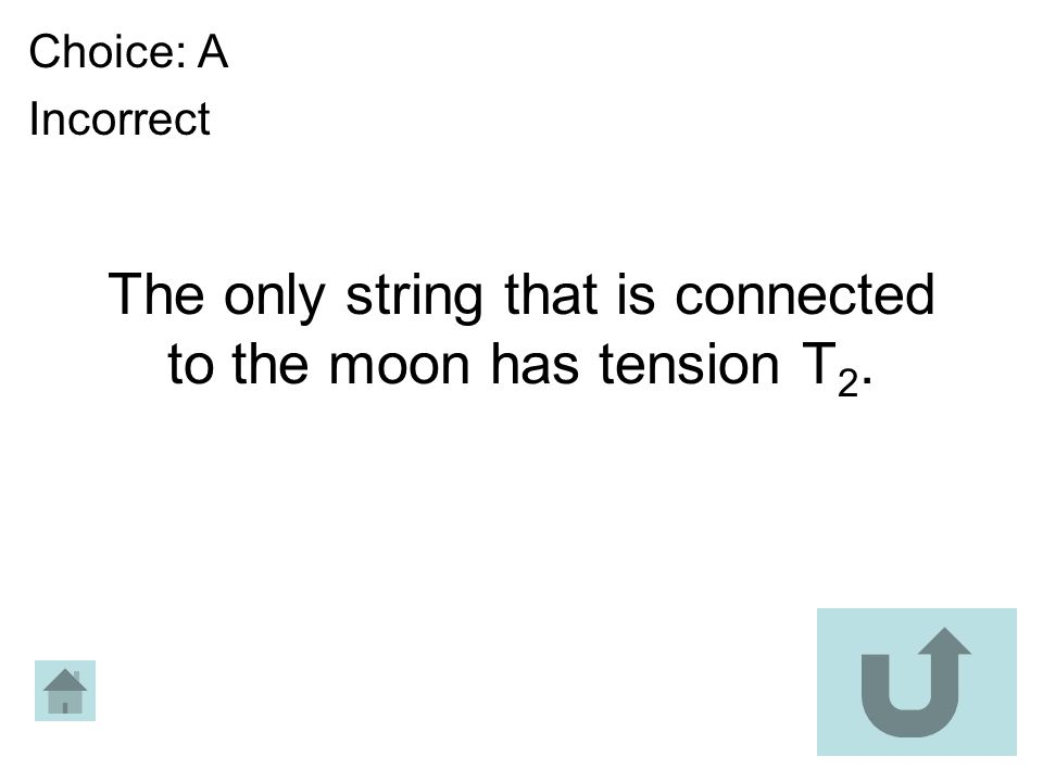 The only string that is connected to the moon has tension T 2. Choice: A Incorrect