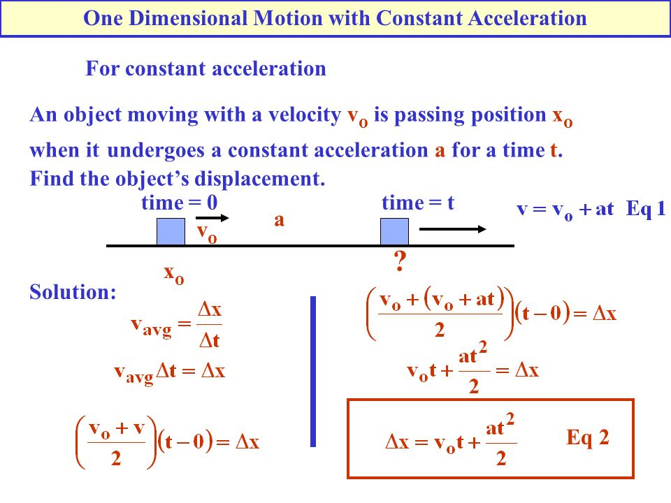 For constant acceleration An object moving with a velocity v o is passing position x o when it undergoes a constant acceleration a for a time t. Find