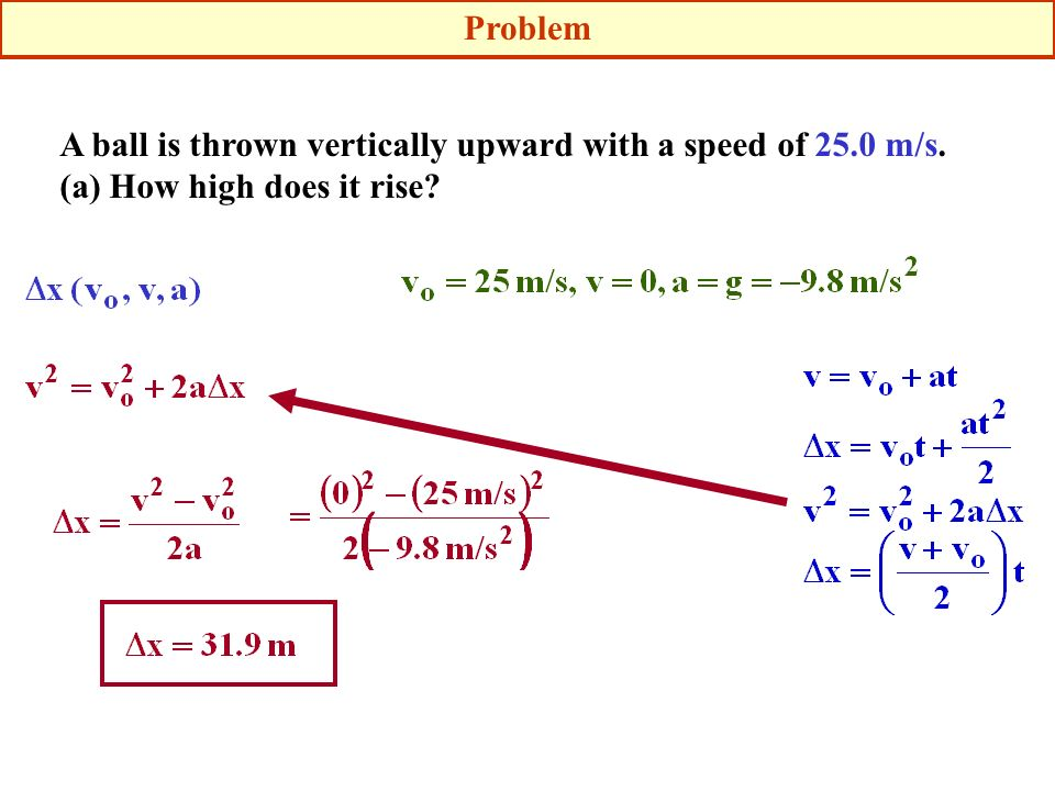 A ball is thrown vertically upward with a speed of 25.0 m/s. (a) How high does it rise? Problem
