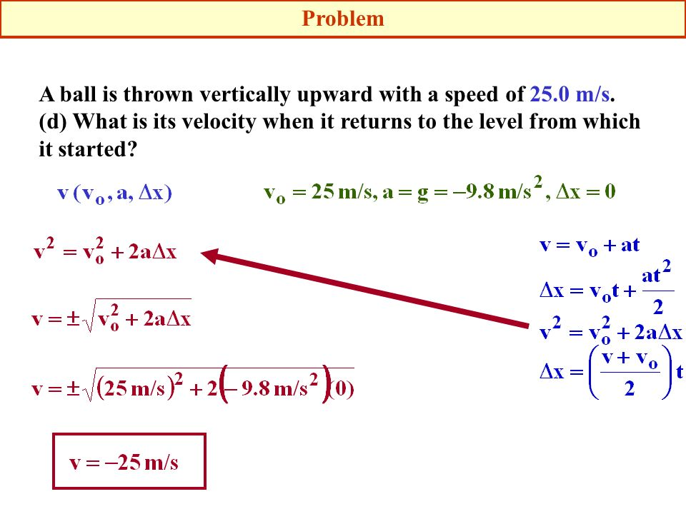 A ball is thrown vertically upward with a speed of 25.0 m/s. (d) What is its velocity when it returns to the level from which it started? Problem