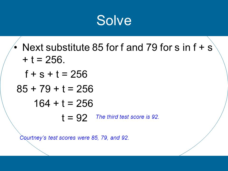 Solve Next substitute 85 for f and 79 for s in f + s + t = 256. f + s + t = 256 85 + 79 + t = 256 164 + t = 256 t = 92 The third test score is 92. Cou