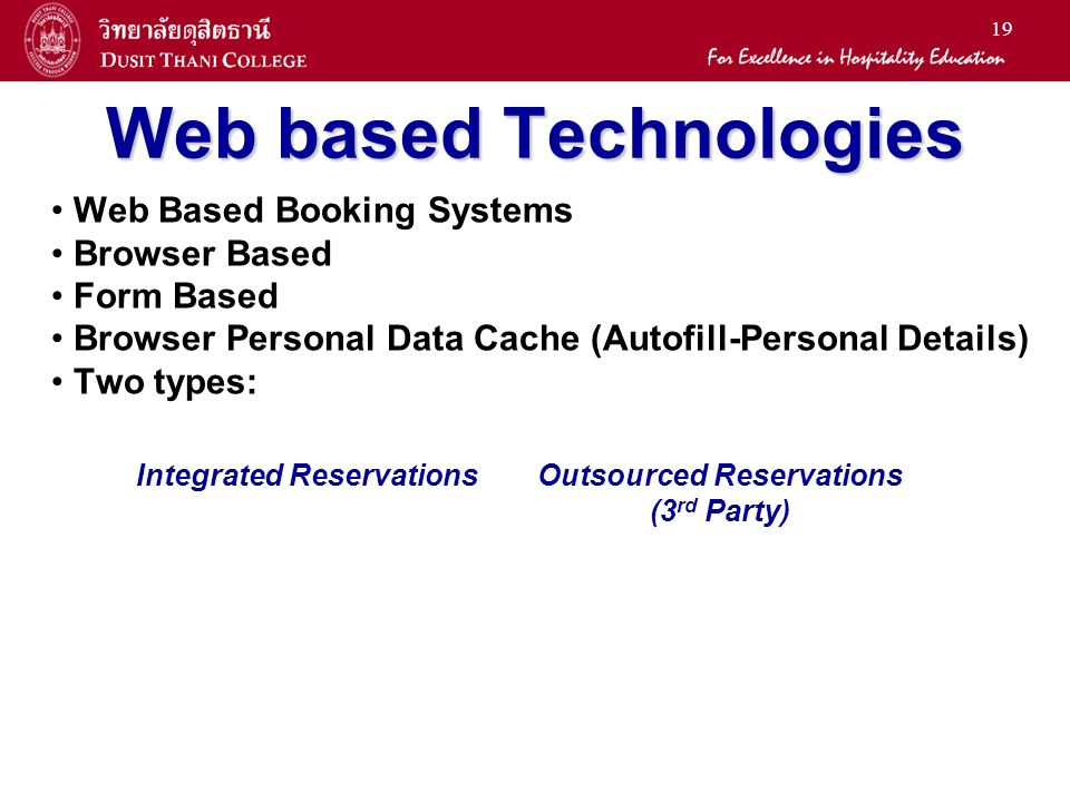 19 Web based Technologies Web Based Booking Systems Browser Based Form Based Browser Personal Data Cache (Autofill-Personal Details) Two types: Integrated ReservationsOutsourced Reservations (3 rd Party)