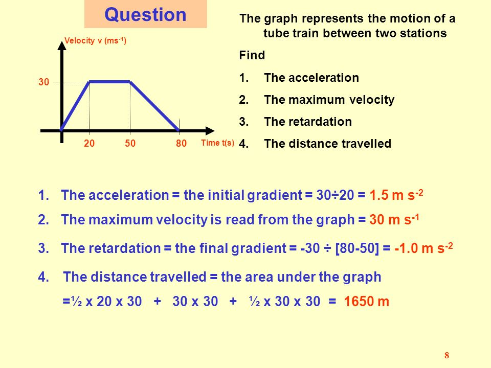 7 1 3 2 AVelocity/time graphs Velocity - v Time - t Velocity - v Time - t This body has a constant or uniform ………? acceleration Δv Δt The gradient = ?