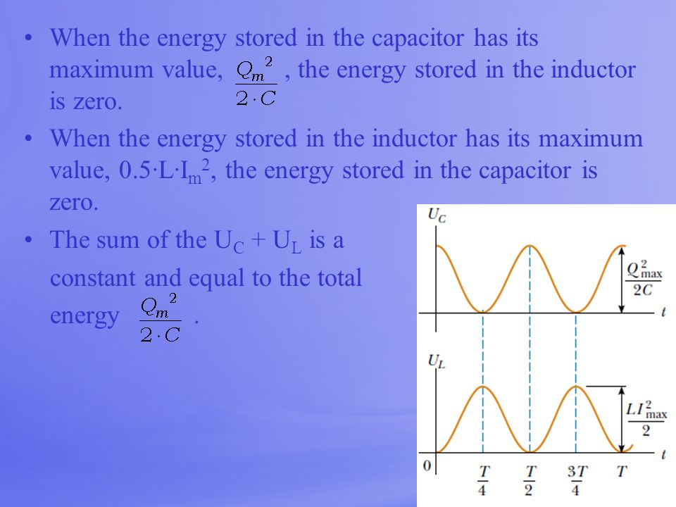 When the energy stored in the capacitor has its maximum value,, the energy stored in the inductor is zero. When the energy stored in the inductor has