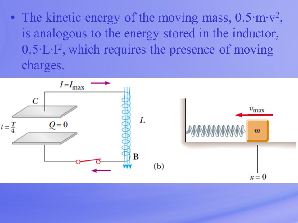 The kinetic energy of the moving mass, 0.5·m·v 2, is analogous to the energy stored in the inductor, 0.5·L·I 2, which requires the presence of moving