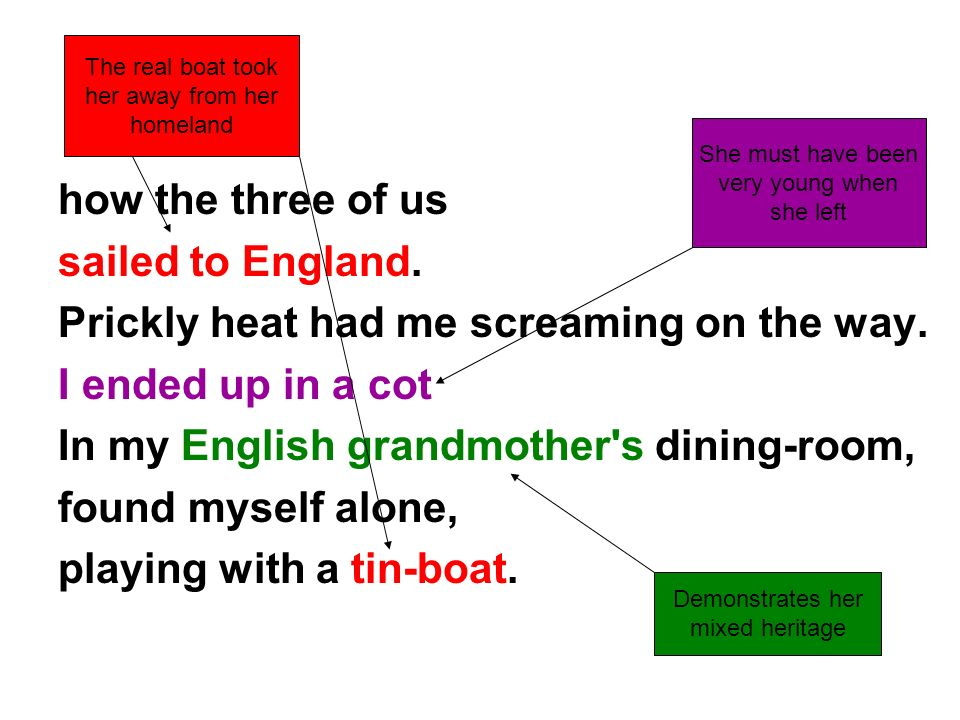 how the three of us sailed to England. Prickly heat had me screaming on the way. I ended up in a cot In my English grandmother's dining-room, found my